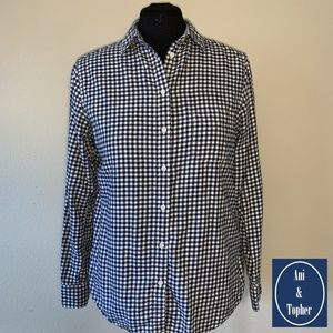Flannel Top Uniqlo Black/White Button Down Large